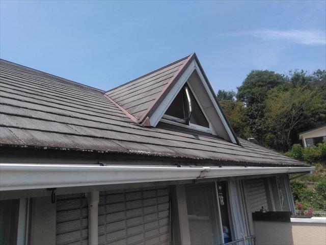 既存の屋根にコケ