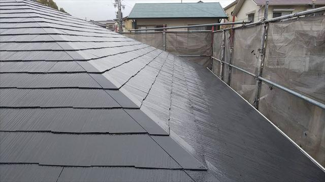 屋根の上塗り塗装、完了