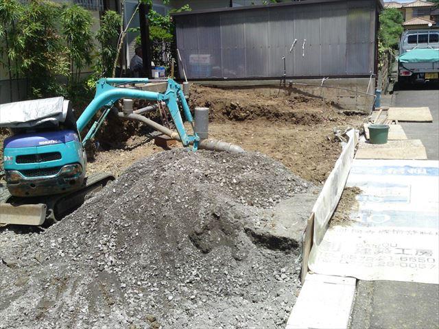 堀削、施工中