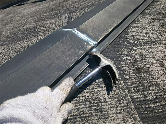 屋根の棟板金の補修