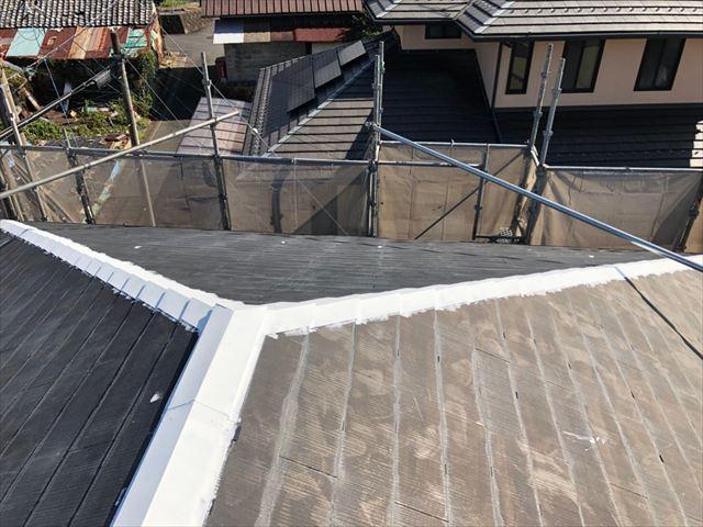 屋根の棟板金下塗り塗装、完了